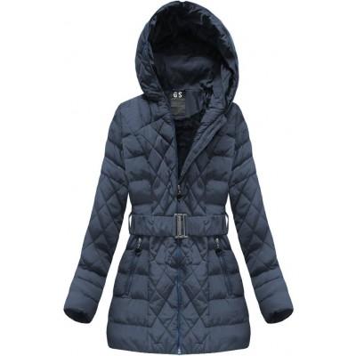 Prešívaná dámska zimná bunda tmavomodrá (23BS-B)