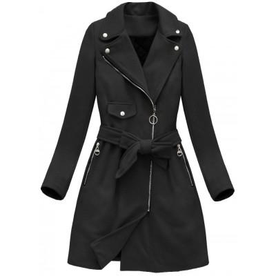Dámsky jesenný kabát čierny (8208)
