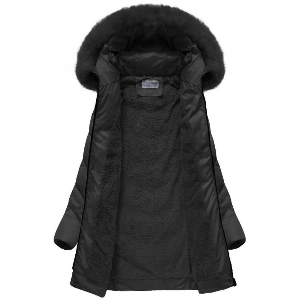 fc18d1d435c4 Dámska zimná bunda čierna (B1061-30)