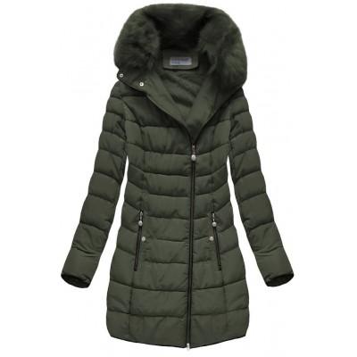 Prešívaná dámska zimná bunda khaki (B1059-30)