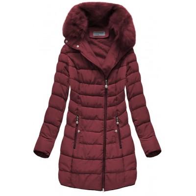 Prešívaná dámska zimná bunda bordová (B1059-30)