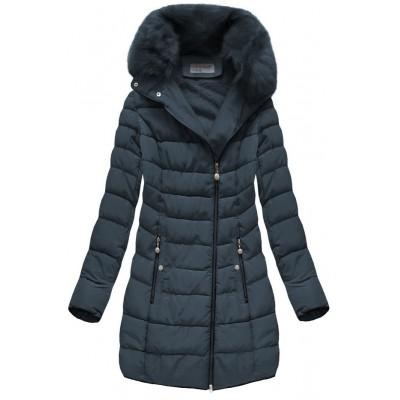 Prešívaná dámska zimná bunda tmavomodrá (B1059-30)