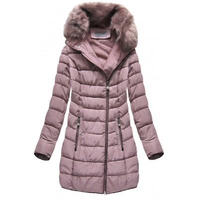 Prešívaná dámska zimná bunda staroružová (B1059-30)