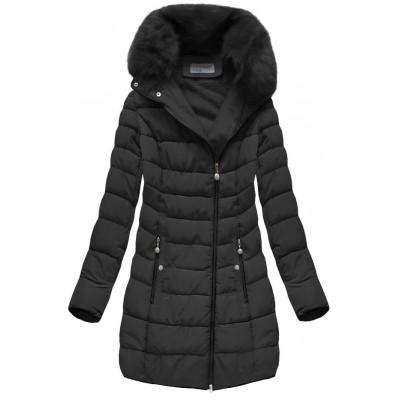 Prešívaná dámska zimná bunda čierna (B1059-30)