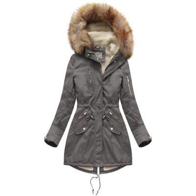 Dámska bavlnená zimná bunda parka tmavošedá (B1303)
