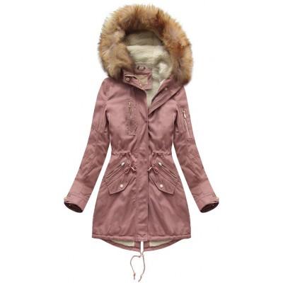 Dámska bavlnená zimná bunda parka staroružová (B1303)