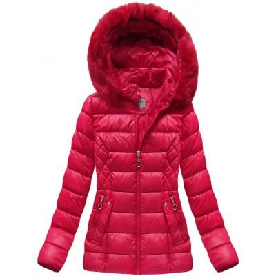 Krátka dámska zimná bunda červená (B1035-30)