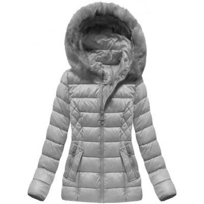 Krátka dámska zimná bunda šedá (B1035-30)