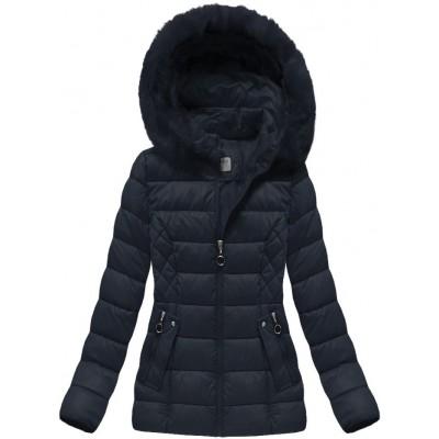 Krátka dámska zimná bunda tmavomodrá (B1035-30)