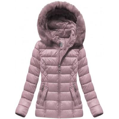 Krátka dámska zimná bunda ružová (B1035-30)