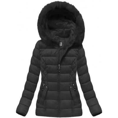 Krátka dámska zimná bunda čierna (B1035-30)