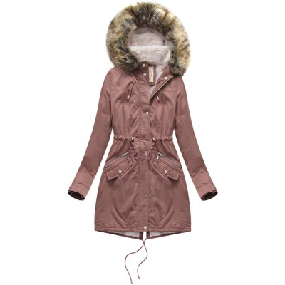 Dámska zimná bunda parka staroružová (7602BIG)