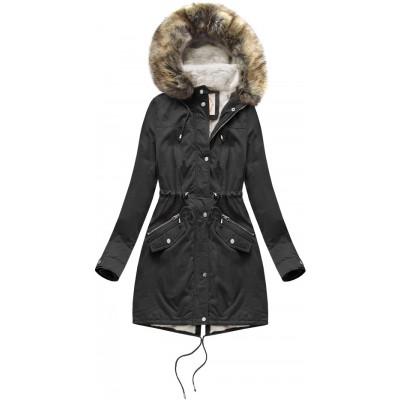 Dámska zimná bunda parka čierna (7602BIG)