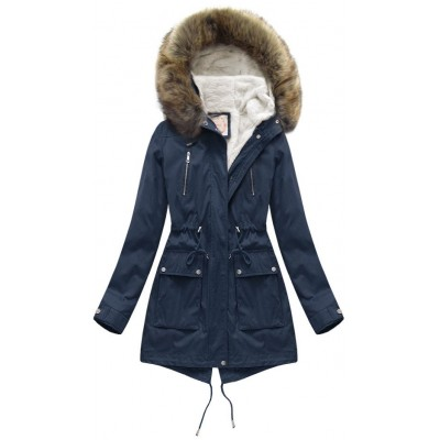 Dámska zimná bunda parka modrá (7619)