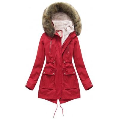 Dámska zimná parka s kožušinou červená (7600)