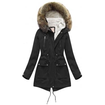 Dámska zimná bunda parka čierna (7619)