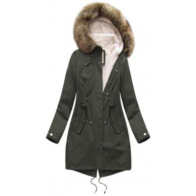 Dámska zimná bunda parka khaki (7626BIG)