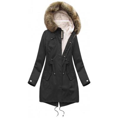 Dámska zimná bunda parka čierna (7626BIG)