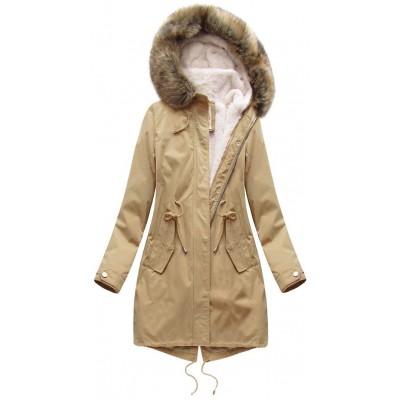 Dámska zimná bunda parka béžová (7626)