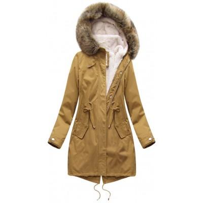 Dámska zimná bunda parka horčicová (7626)