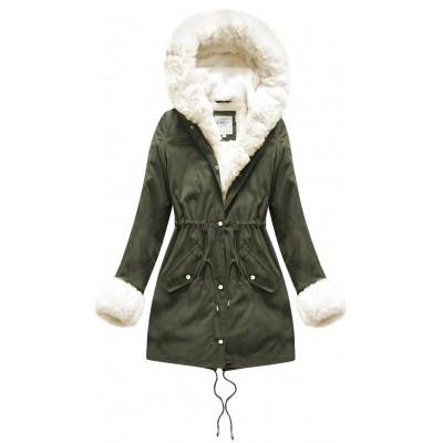 Teplá dámska zimná bunda khaki-ecru (X3366X)