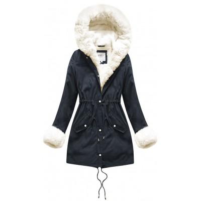 Teplá dámska zimná bunda modra-ecru (X3366X)