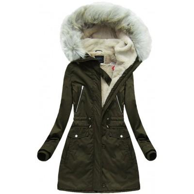 Teplá dámska zimná bunda khaki 1 (6088)