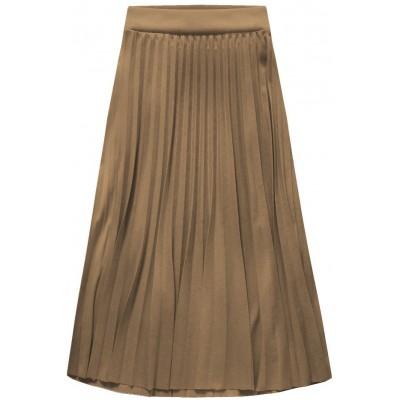 Dámska plisovaná sukňa midi cappucino (140ART)