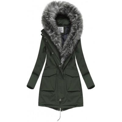 Dámska zimná bunda s kožušinou khaki (LAURELLA)