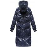 Dámska lesklá zimná bunda modrá (17115)