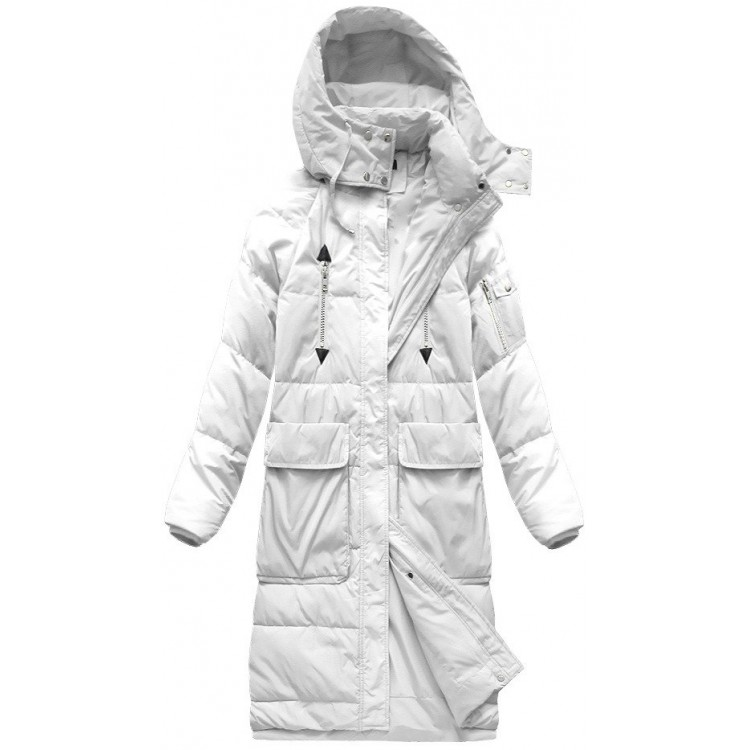Dámska dlhá zimná bunda biela (7118)