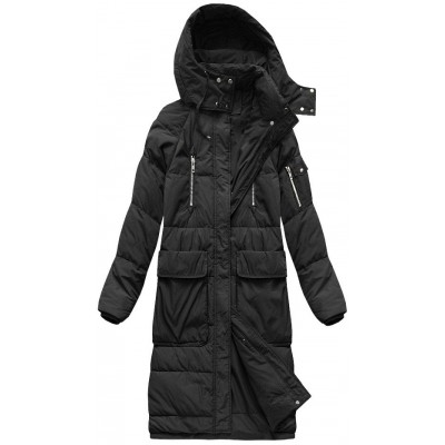 Dámska dlhá zimná bunda čierna (7118)
