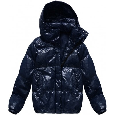 Dámska lesklá zimná oversize bunda modrá (7121)