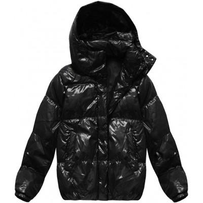Dámska lesklá zimná oversize bunda čierna (7121)