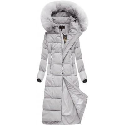Dlhá dámska zimná bunda šedá (7688BIG)