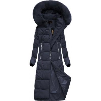 Dlhá dámska zimná bunda modrá (7688BIG)