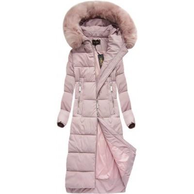 Dlhá dámska zimná bunda pudrovoružová (7688BIG)
