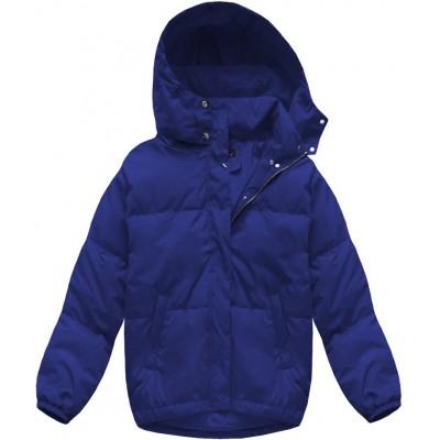 Krátka zimná bunda oversize modrá (7113)