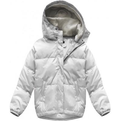 Krátka zimná bunda oversize biela (7113)