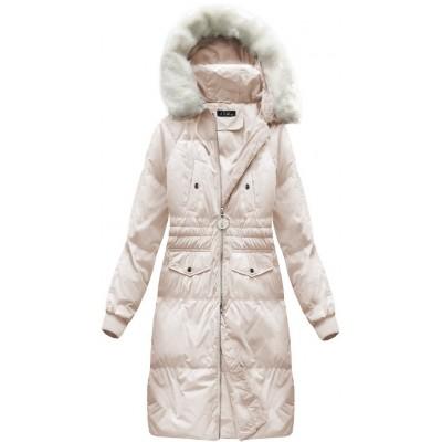 Dámska dlhá zimná bunda  lososová (17117)