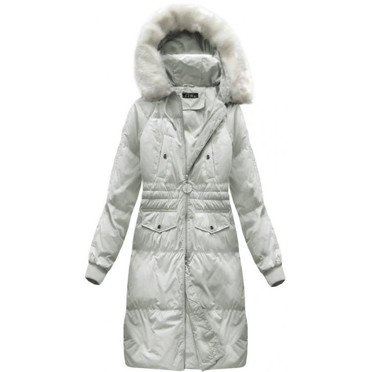 Dámska dlhá zimná bunda  svetlošedá  (17117)