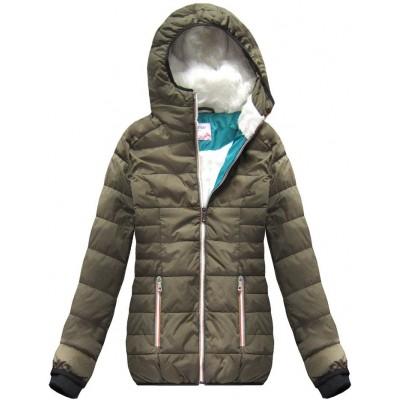 Krátka zimná bunda khaki (391W)