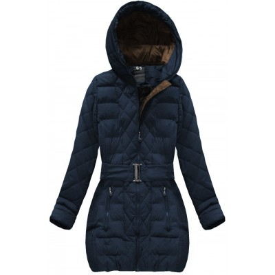 Dámska prešívaná zimná bunda s opaskom tmavomodrá (C186BS-A)