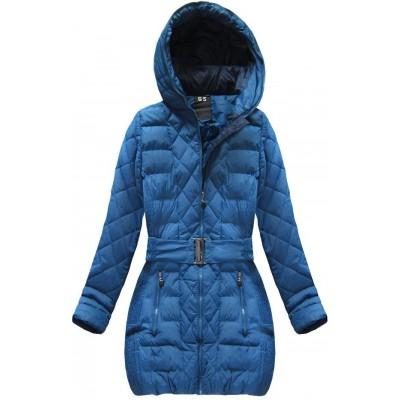 Dámska prešívaná zimná bunda s opaskom svetlomodrá (C186BS-A)