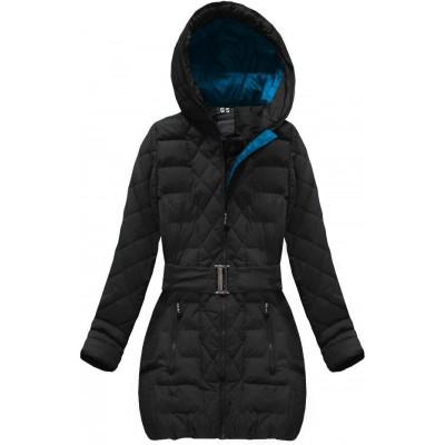 Dámska prešívaná zimná bunda s opaskom čierna (C186BS-A)