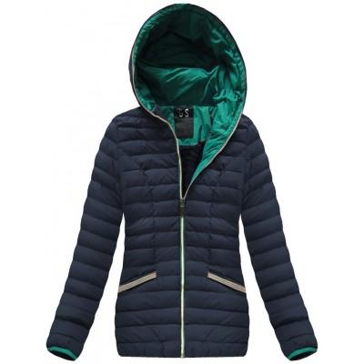 Krátka dámska zimná bunda modrá (CX583W)