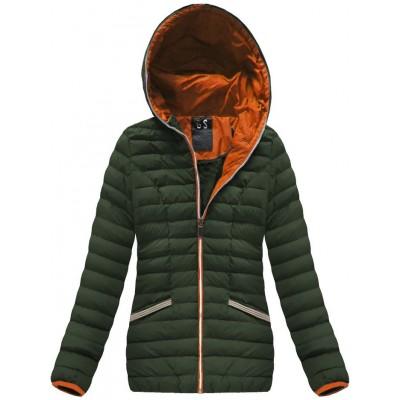 Krátka dámska zimná bunda khaki (CX583W)