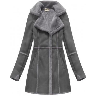 Dámsky semišový kabát šedý (S-1802)