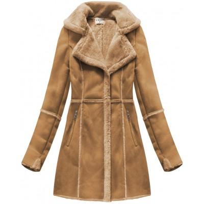 Dámsky semišový kabát karamelový (S-1802)