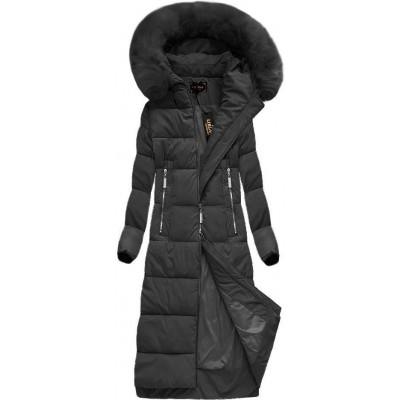 Dlhá dámska zimná bunda čierna (7688BIG)